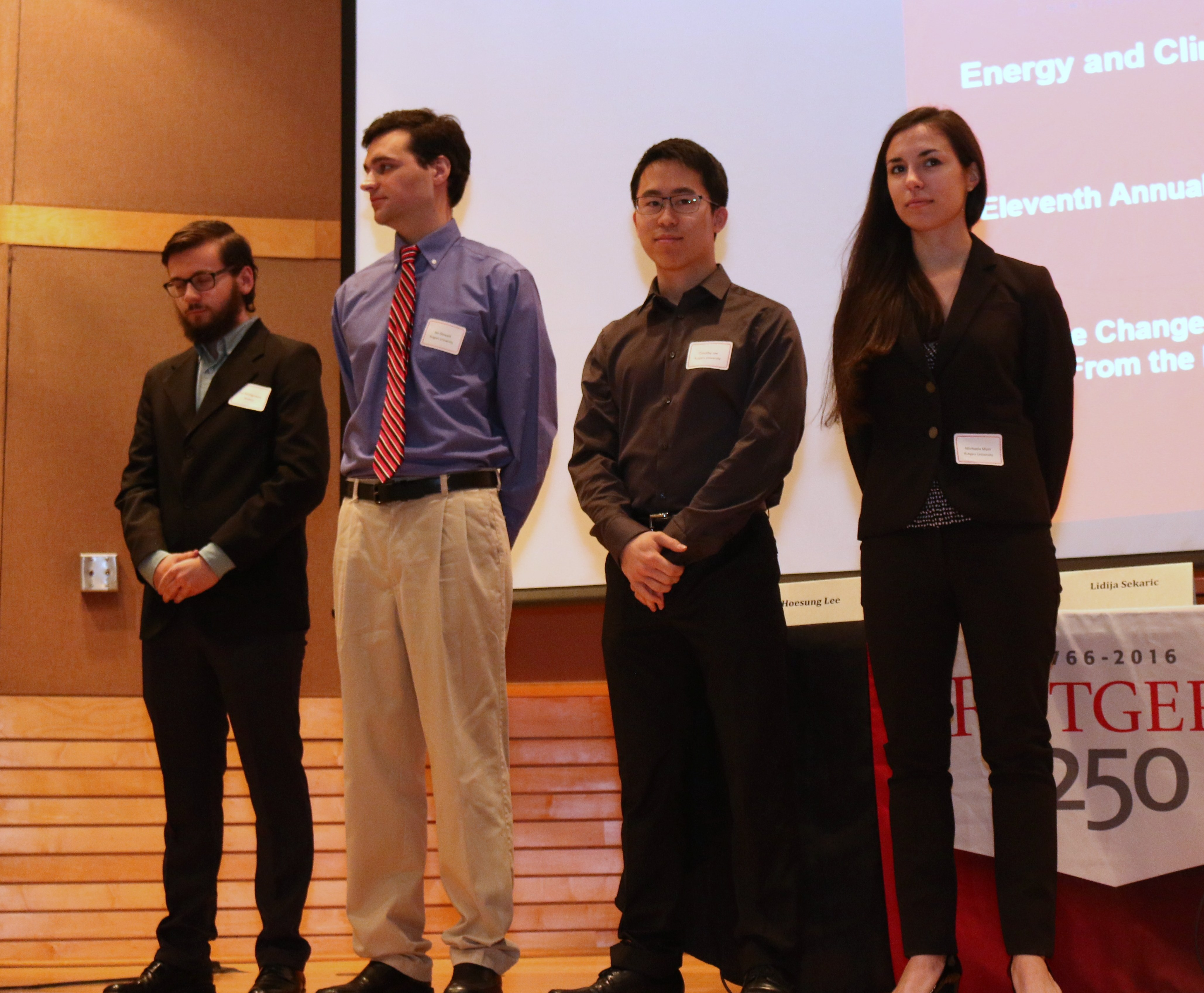 Student contest winners (L-R):   Ian Montgomery, Ian Stewart, Timothy Lee, and Michaela Murr